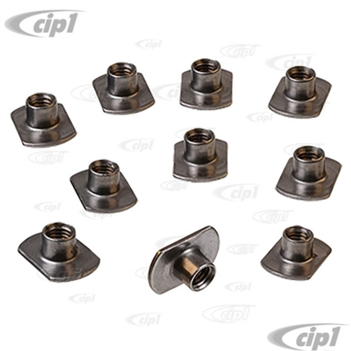 C21-0898-10 - (N114071) GERMAN - SET OF 10 - 8MM PANEL NUT WELD-IN INSERTS- PERFECT FOR REPLACING BEETLE FENDER BOLT THREADS - SOLD SET OF 10
