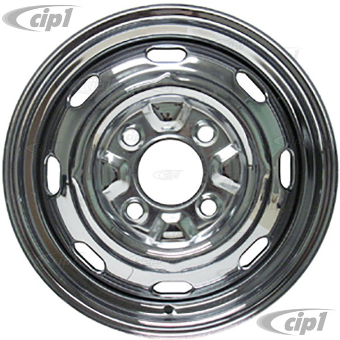 ACC-C10-6622 - CHROME 4 BOLT STEEL WHEEL 15 X 4-1/2 ( 4 INCH BACK SPACING) READ SPECIAL NOTES ABOUT HUB CAPS! - (A20)