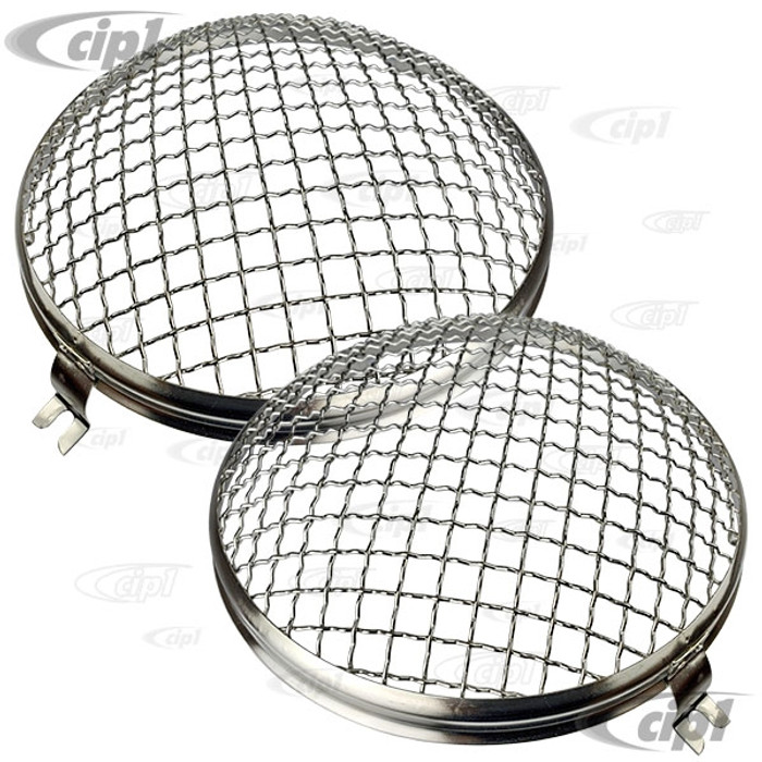 C23-108-010-SS - STAINLESS STEEL EUROPEAN STYLE HEADLIGHT MESH GRILL COVERS (USES RING MOUNTING SCREW - FITS INSIDE HEADLIGHT RING) - BEETLE 46-66 / BUS 52-67 / PORSCHE 356 (WITH ORIGINAL STYLE LENS ONLY) - SOLD PAIR