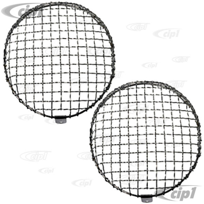 C23-108-013 - CLIP-ON - EUROPEAN STYLE HEADLIGHT MESH GRILL COVERS - 911 WITH H4 HEADLIGHTS - SOLD PAIR