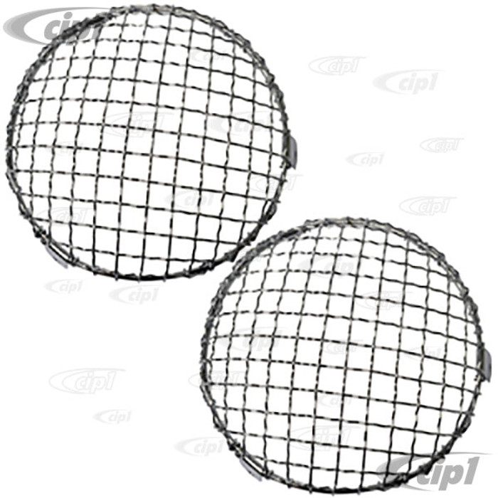 C23-108-014 - SCREW-ON (DRILLING REQUIRED) - EUROPEAN STYLE HEADLIGHT MESH GRILL COVERS - BEETLE 67-79 / BUS 68-79 / TYPE-3 62-73 - SOLD PAIR