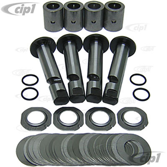 C24-111-498-051-A - (111498051A) PREMIUM GERMAN - LINK PIN REPAIR KIT (4 LINK PINS / BUSHINGS / EXTRA SHIMS FOR PRE-59) BEETLE 46-65 / GHIA 56-65 - DOES BOTH SIDES - SOLD SET