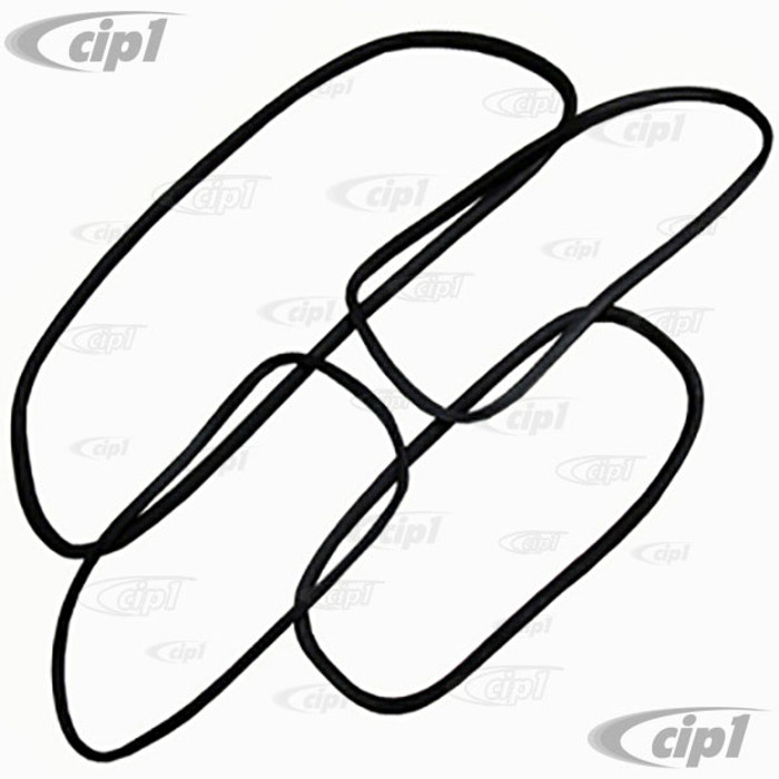 C24-111-898-121-AGR - GENUINE GERMAN WINDOW RUBBER KIT - WITH MOLDED CORNERS (CAL-LOOK STYLE) WITHOUT TRIM GROOVE - 4 PIECES - OVAL WINDOW BEETLE 53-57