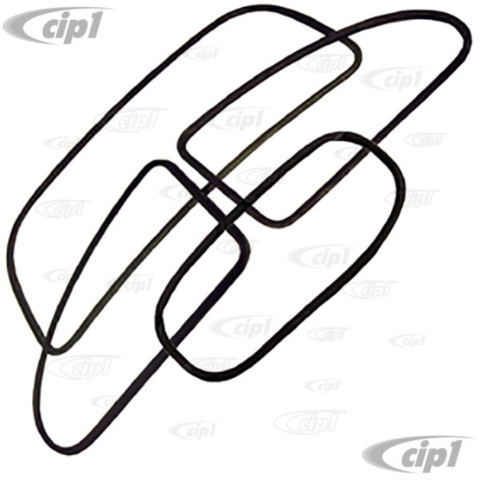 C24-113-898-121-AGR - GENUINE GERMAN WINDOW RUBBER KIT - WITH MOLDED CORNERS - WITH GROOVE FOR METAL TRIM - 4 PIECES - OVAL WINDOW BEETLE 53-57 (TRIM SOLD SEPARATELY)