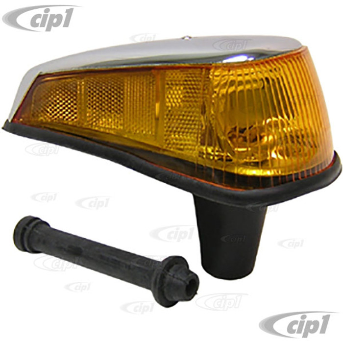 C24-113-953-042-N - (113953042N) GOOD REPRODUCTION WITH METAL HOUSING - COMPLETE FRONT TURN SIGNAL ASSEMBLY WITH AMBER LENS - RIGHT - SEAL INCLUDED - BEETLE 70-79 - SOLD EACH
