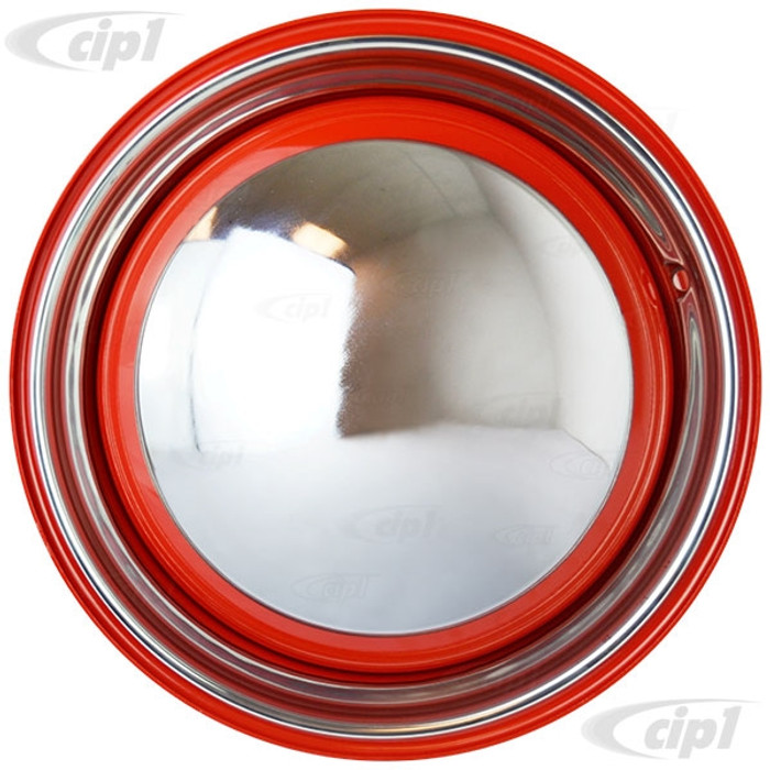 ACC-C10-6622-RD-KIT - NEW HOT ROD RED WHEEL PACKAGE - SET OF 4 - 15 INCH RED SMOOTHIE 4x130MM 4 BOLT STEEL WHEELS - WITH 4 MOON HUBCAPS & TRIM RINGS - SET OF 4