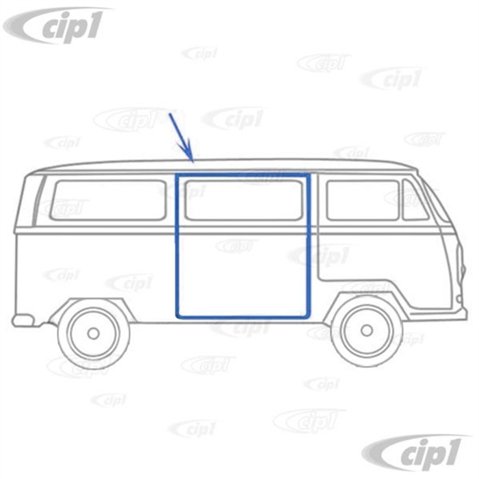 C24-211-843-792-B - (211843792B) GENUINE GERMAN - RIGHT SIDE SLIDING DOOR SEAL - FOR LHD - BUS 68-79 - SOLD EACH