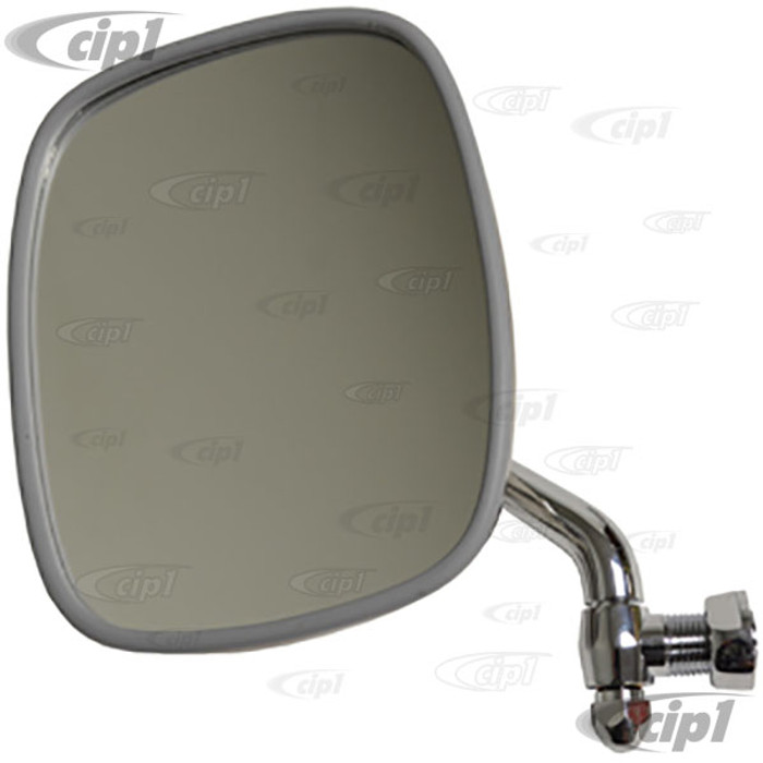 C24-211-857-513-FW - (211857513F) TOP RESTORATION QUALITY - POLISHED STAINLESS STEEL OUTSIDE DOOR MIRROR - LEFT - BUS 68-79 - SOLD EACH