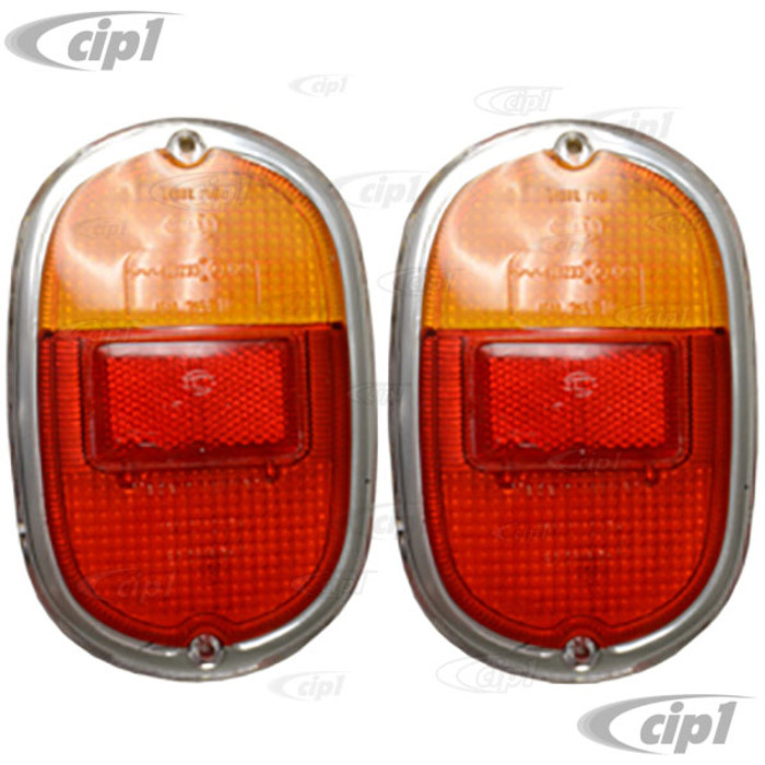 C24-211-945-241-DGPR - GERMAN QUALITY - MADE IN THE U.K. - TAILLIGHT LENS ONLY WITH FACTORY LOGO - ORIGINAL EUROPEAN STYLE RED/AMBER WITH CHROME TRIM EMBEDDED IN LENS - BUS 62-71 - SOLD PAIR
