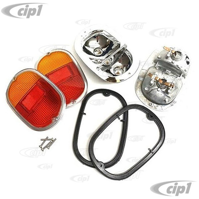 C24-211-945-241-ORPR - GERMAN QUALITY - MADE IN THE U.K. - COMPLETE TAILLIGHT ASSEMBLIES WITH CAST ALUMINUM HOUSINGS WITH EUROPEAN RED/AMBER/CHROME LENS - BUS 62-71 SOLD PAIR