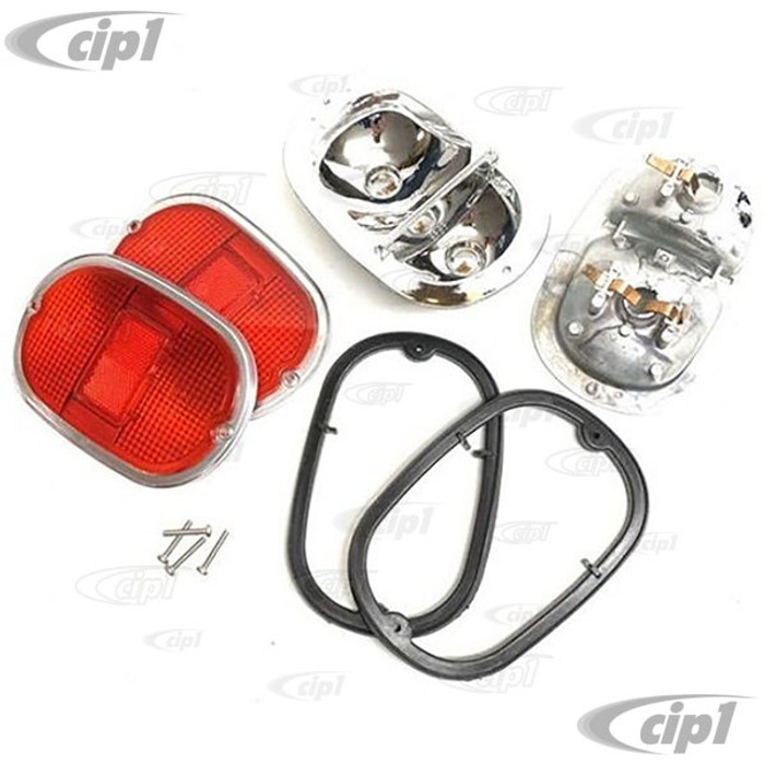 C24-211-945-241-RDPR - GERMAN QUALITY - MADE IN THE U.K. - COMPLETE TAILLIGHT ASSEMBLIES WITH CAST ALUMINUM HOUSINGS WITH USA STYLE ALL RED/CHROME HELLA LENS - BUS 62-71 SOLD PAIR