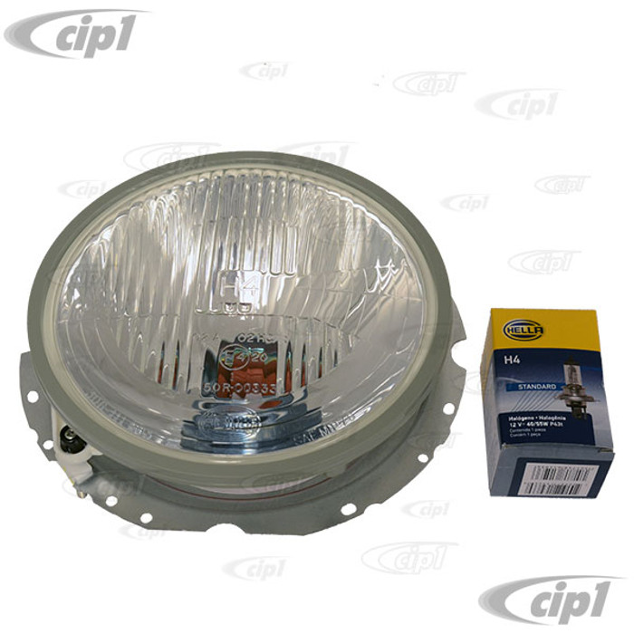 C24-BAA-941-751-AGR - OE GENUINE VW HELLA - 12 VOLT HELLA HEADLIGHT ASSEMBLY WITH HALOGEN BULB - BEETLE 67-79 / BUS 68-79 / TYPE-3 64-74 / THING 73-74 (WILL NOT FIT KARMANN GHIA) - SOLD EACH