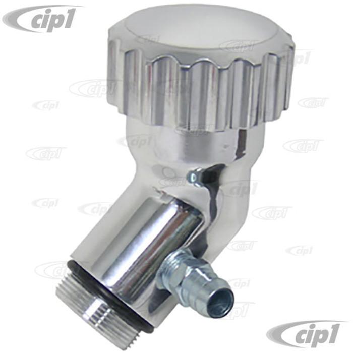 C26-115-541 - POLISHED ALUMINUM ANGLED OIL FILLER WITH BILLET OIL CAP - BEETLE STYLE ENGINES
