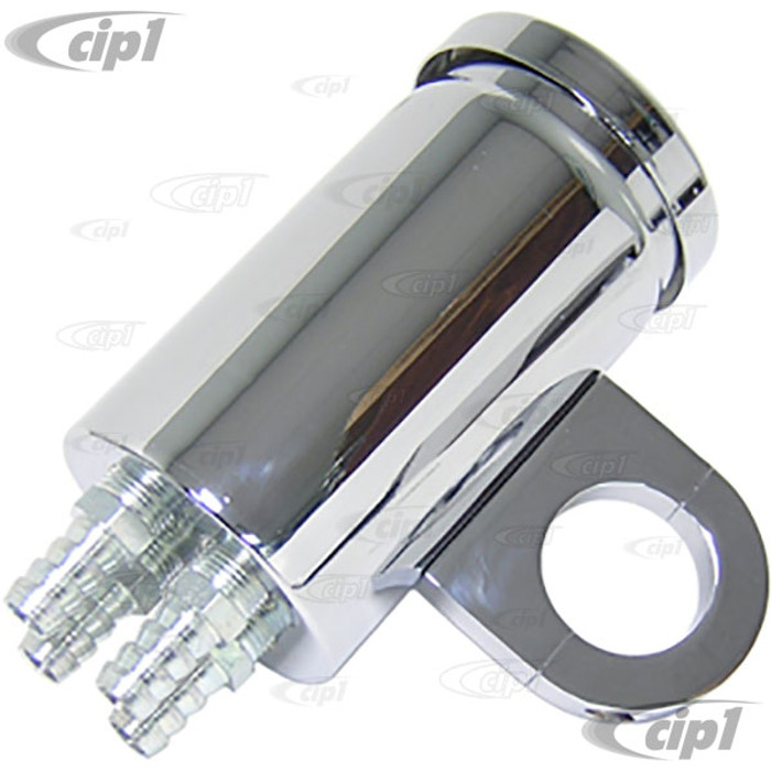 C26-115-554 - CANISTER BREATHER - CHROME FINISH - 4 FITTINGS - WITH MOUNTING CLAMP FOR 1-1/2 INCH TUBING