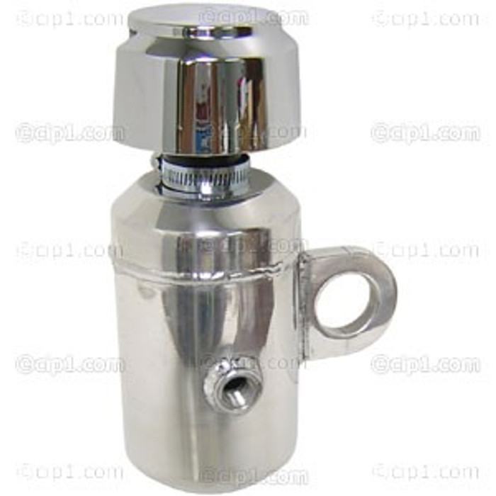 C26-115-564-15 - DELUXE POLISHED ALUMINUM OIL BREATHER WITH SHIELDED VENT - WITH TUBE MOUNTING BRACKET - FITS 1-1/2 INCH TUBE