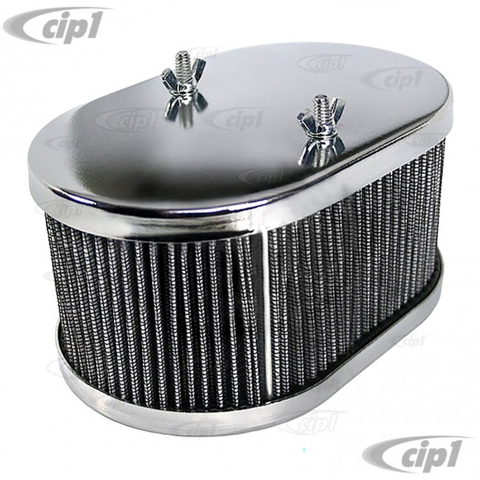 C26-129-400 - (8714) CHROME OVAL AIR CLEANER ASSEMBLY - 3-1/2 INCH HIGH - FITS EMPI HPMX / WEBER 40-44-48MM IDF & DELLORTO DRLA - SOLD EACH