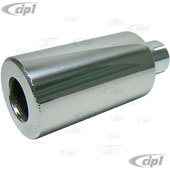 C26-251-063 - POLISHED STAINLESS STEEL HOT SHOT MUFFLER - INLET DIA. 2 INCH - OVERALL LENGTH 10 INCH - DIAMETER 4 INCH - (A10)