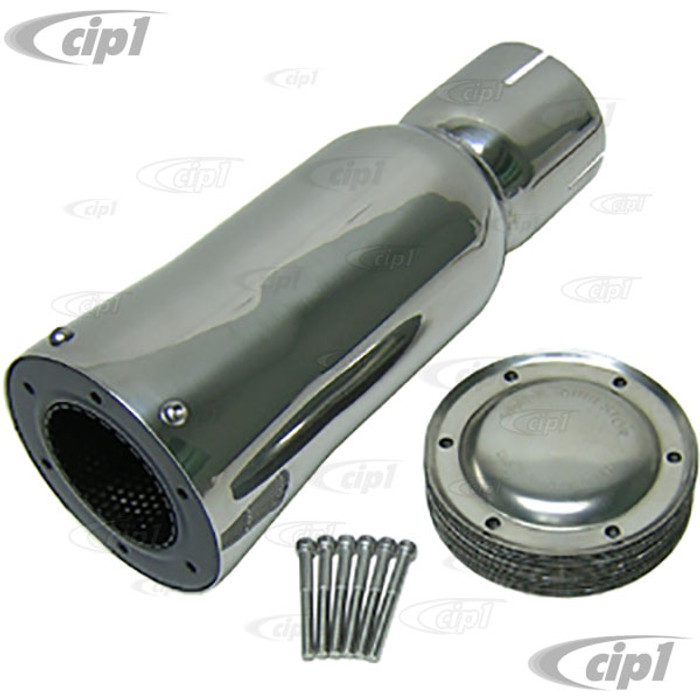 C26-251-085 - POLISHED STAINLESS STEEL BIG SHOT SPARK ARRESTOR - INLET DIA. 3-1/4 INCH - OVERALL LENGTH 14 INCH - DIAMETER AT END 5 INCH - (A10)