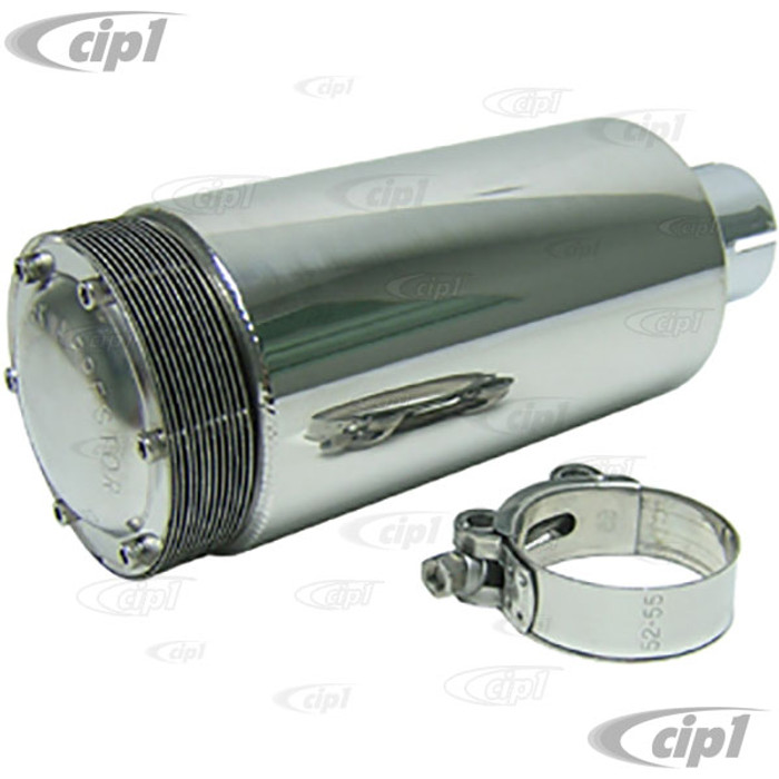 C26-251-086 - POLISHED STAINLESS STEEL SPARK ARRESTOR MUFFLER - INLET DIA. 2 INCH - OVERALL LENGTH 10 INCH - DIAMETER 4 INCH - (A10)