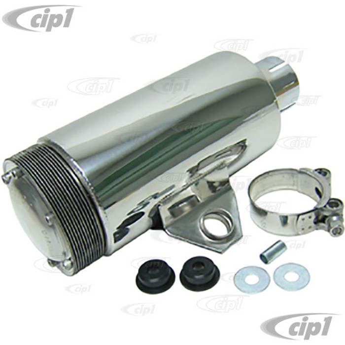 C26-251-086B - POLISHED STAINLESS STEEL SPARK ARRESTOR MUFFLER W/MOUNTING BRACKET - INLET DIA. 2 INCH - OVERALL LENGTH 10 INCH - DIAMETER 4 INCH - (A10)