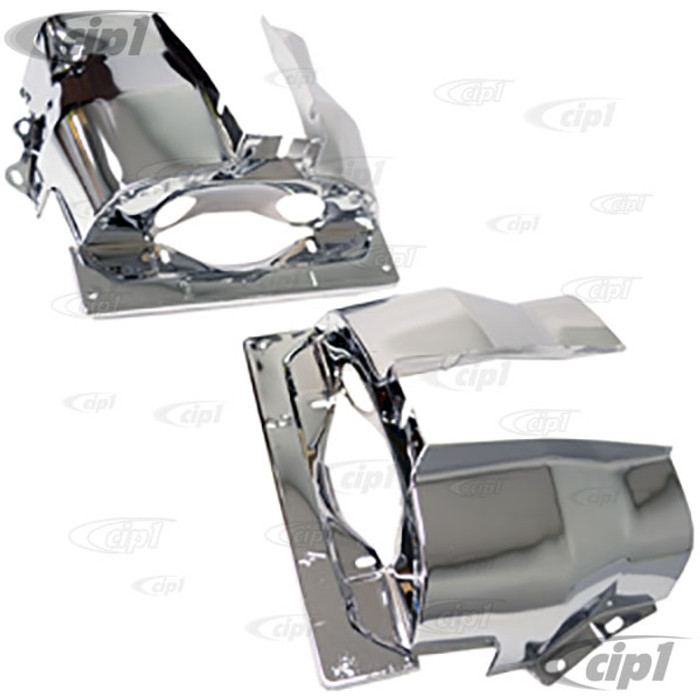 ACC-C10-5441 - EMPI 9063 - CHROME DUAL PORT CYLINDER SHROUD COVER TINS - ALL BEETLE STYLE ENGINES 71-74 - SOLD IN PAIRS