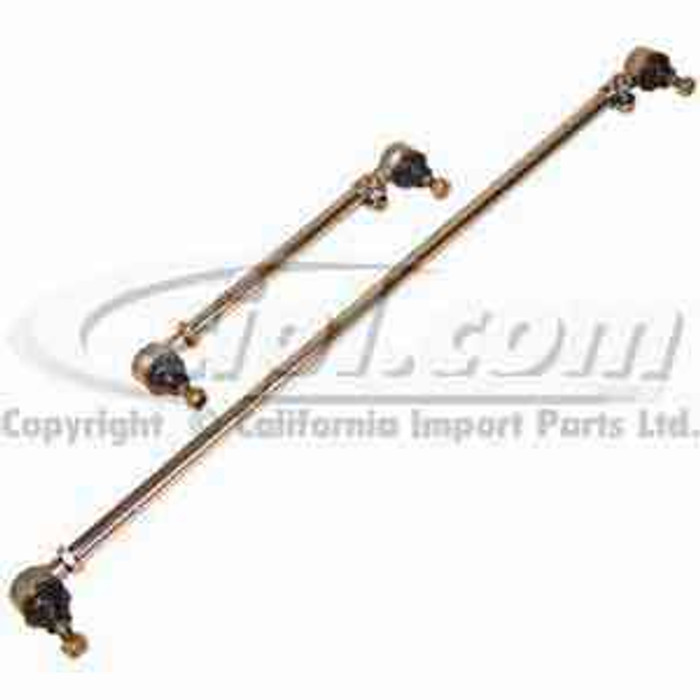 C26-425-109 - COMPLETE CHROME TIE ROD - PAIR - EARLY TO 67 BEETLE/GHIA - WITHOUT DAMPER MOUNT