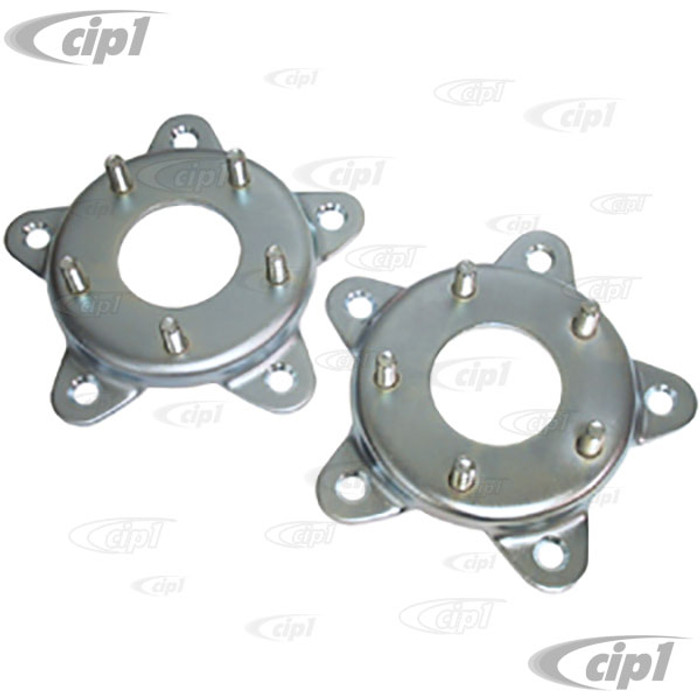 C26-601-206 - (EMPI 9499) PAIR OF WHEEL ADAPTERS - 5 BOLT 205MM VW TO 5X130MM PORSCHE PATTERN (MADE OF STAMPED STEEL) - SOLD PAIR