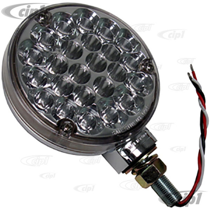 C26-945-192CA - CHROME TAILLIGHT - AMBER LED - CLEAR LENSE - SOLD EACH