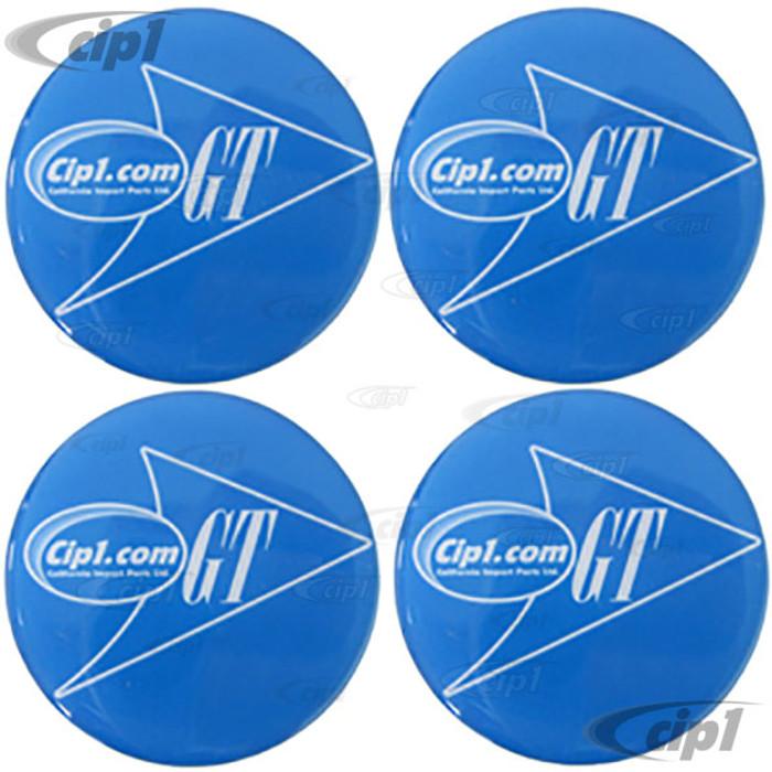 ACC-C10-9724 - BLUE GTV STYLE CENTER CAP DECALS - 52MM DIAMETER - SET OF 4
