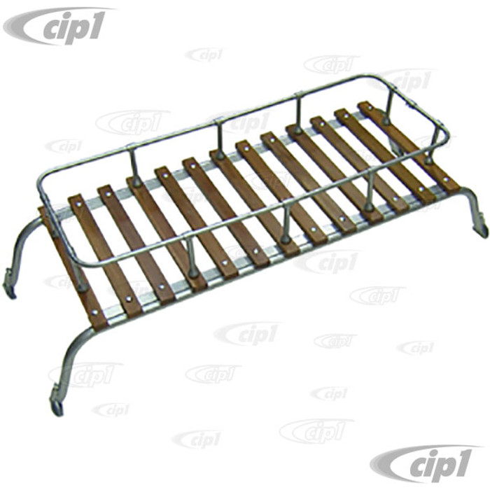 C27-J12628 - MADE IN THE U.K. - SMALL 2 BOW WOOD SLAT ROOF RACK - SILVER POWDER COATED WITH QUALITY WOOD SLATS - FRONT OR REAR OF NON-POP-TOP BAY WINDOW BUSES - REAR ONLY 52-67 - BUS 52-79 - SOLD EACH