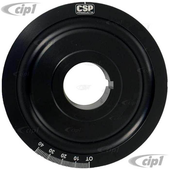 C31-105-253-12700 - CSP MADE IN GERMANY - BLACK ANODIZED 127MM FRONT CRANK POWER PULLEY - FITS 356/912 ENGINES - SOLD EACH