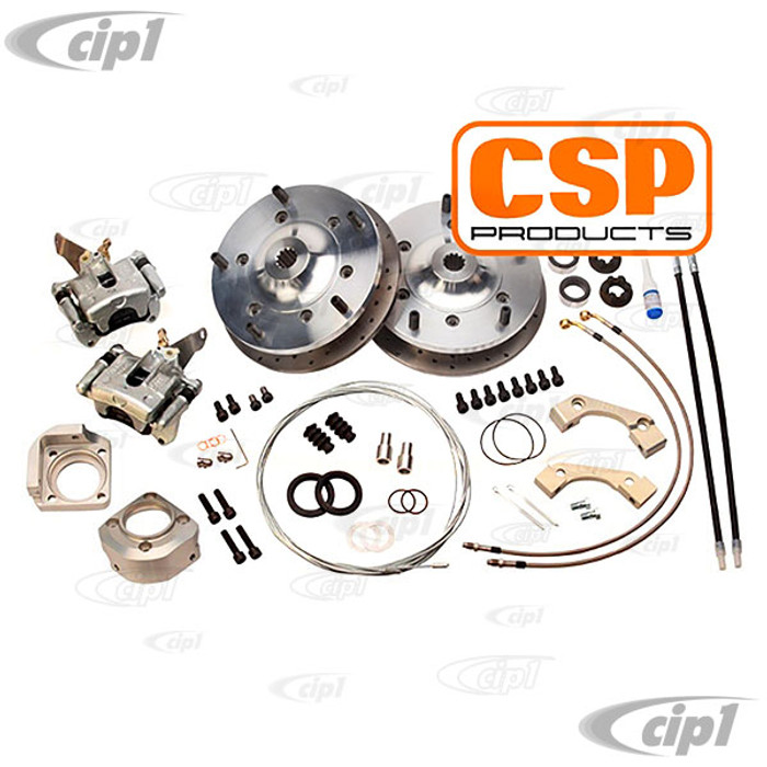 C31-599-356-5205 - CSP MADE IN GERMANY - REAR DISC BRAKE KIT WITH SOLID ROTORS - WITH 5x205MM BOLT PATTERN (NOTE: KIT COMES WITH SOLID ROTORS. NOT DRILLED AS PICTURED) - PORSCHE 356 50-65 - SOLD KIT