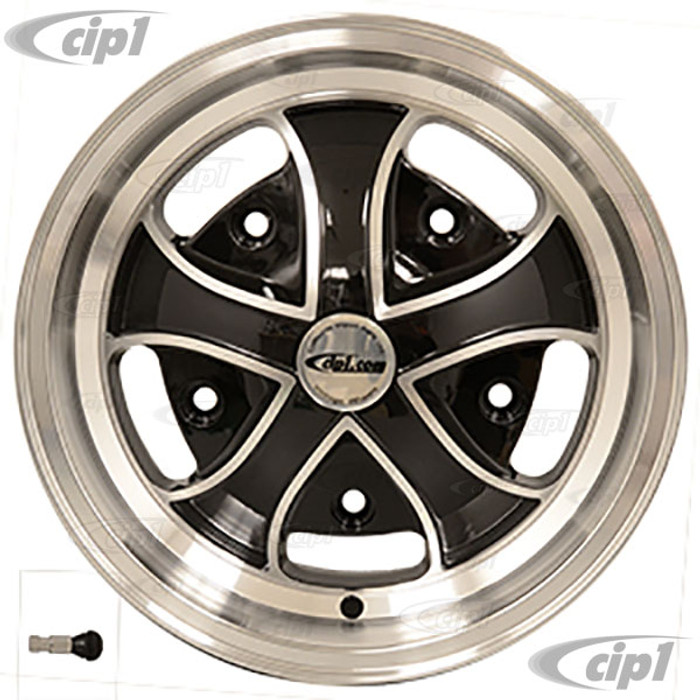 C32-5515CC520520BMF - CIP EXCLUSIVE! - CALIFORNIA CRUZ WHEEL W/CENTER CAP AND VALVE STEM – BLACK W/MACHINED FACE - 15 INCH X 5.5 INCH WIDE - (BACKSPACING 4INCH ET+20) 5 BOLT X 205MM - HARDWARE SOLD SEP. - SOLD EACH