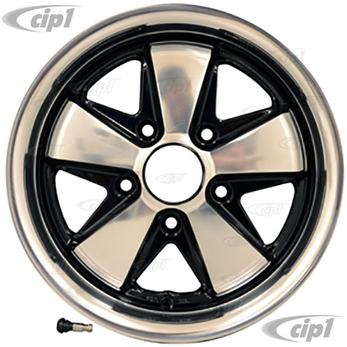 C32-6015FOO513035BHP - 911 STYLE 5 SPOKE ALUMINUM WHEEL - BLACK WITH POLISHED SPOKES - 6 INCH WIDE X 15 INCH DIA. - 5X130MM BOLT PATTERN (ET-35 - 4.75 INCH BACKSPACE) - CENTER CAP AND HARDWARE SOLD SEPARATELY - SOLD EACH
