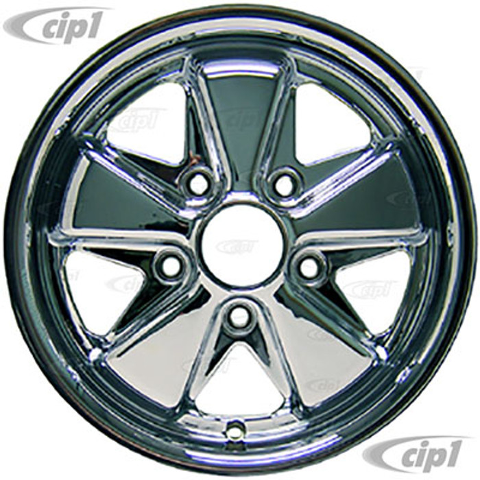 C32-6015FOO513035C - 911 STYLE 5 SPOKE ALUMINUM WHEEL - FULL CHROME - 6 INCH WIDE X 15 INCH DIA. - 5X130MM BOLT PATTERN (ET-35) - CENTER CAP AND HARDWARE SOLD SEPARATELY - SOLD EACH