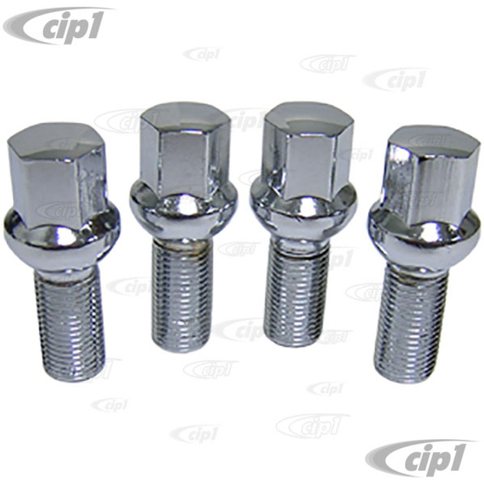 C32-6655 - CHROME PLATED 14MM WHEEL BOLTS WITH BALL-SEAT - WITH 1-1/4 INCH THREAD - 4 PIECE SET