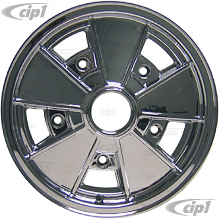 C32-BR3C - FULLY CHROME PLATED BRM REPLICA 5 SPOKE WHEEL - 15 X 4.5 INCH WIDE - WIDE 5 BOLT 205MM - CENTER CAP AND MOUNTING HARDWARE IS SOLD SEPARATELY - (A20)