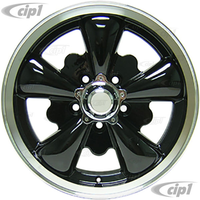 C32-E251B - 5 SPOKE ALUMINUM WHEEL - BLACK - 5.5 INCH WIDE X 15 INCH DIA. - 5X112MM BUS 71-79 BOLT PATTERN WITH CENTER CAP - USES 60% ACORN HARDWARE - HARDWARE SOLD SEPARATELY - SOLD EACH - (A20)