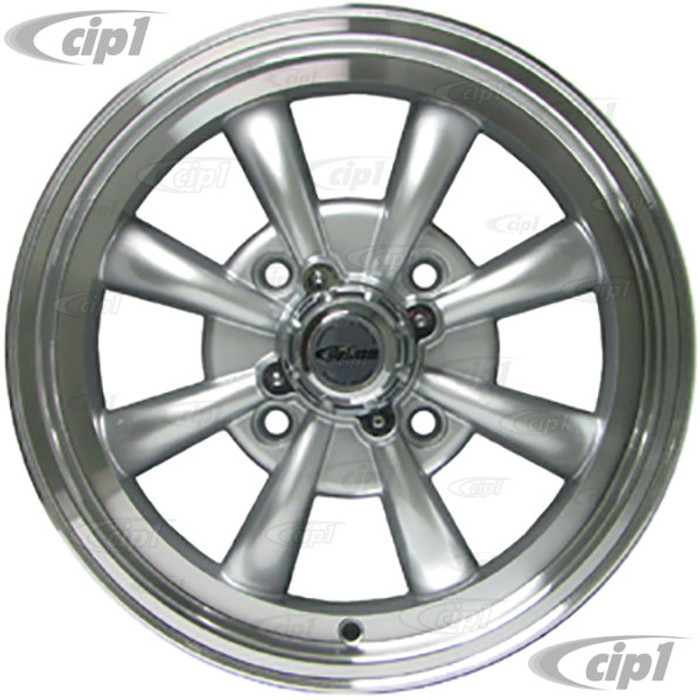 C32-E28S - SILVER 8 SPOKE ALUMINUM WHEEL - 5.5 INCH WIDE X 15 INCH DIA. WITH 4.6 IN. BACKSPACE - 4X130MM BOLT PATTERN - USES 60% ACORN HARDWARE - CENTER CAP INCLUDED - HARDWARE SOLD SEPARATELY - SOLD EACH - (A20)