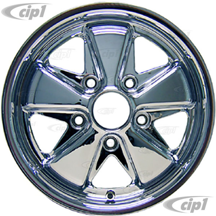 C32-FU452C - 911 STYLE 5 SPOKE ALUMINUM WHEEL - FULLY CHROMED - 4.5 INCH WIDE X 15 INCH DIA. - 5X130MM BOLT PATTERN (4-1/8 INCH BACKSPACE) - CENTER CAP AND HARDWARE SOLD SEPARATELY - SOLD EACH