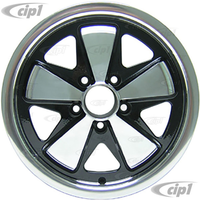 C32-FU551B - 911 STYLE 5 SPOKE ALUMINUM WHEEL - BLACK WITH POLISHED SPOKES - 5.5 INCH WIDE X 15 INCH DIA. - 5X112MM BOLT PATTERN (3-3/4 INCH BACKSPACE) - CENTER CAP AND HARDWARE SOLD SEPARATELY - SOLD EACH