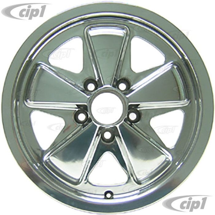 C32-FU551P - 911 STYLE 5 SPOKE ALUMINUM WHEEL - FULLY POLISHED - 5.5 INCH WIDE X 15 INCH DIA. - 5X112MM BOLT PATTERN (3-3/4 INCH BACKSPACE) - CENTER CAP AND HARDWARE SOLD SEPARATELY - SOLD EACH
