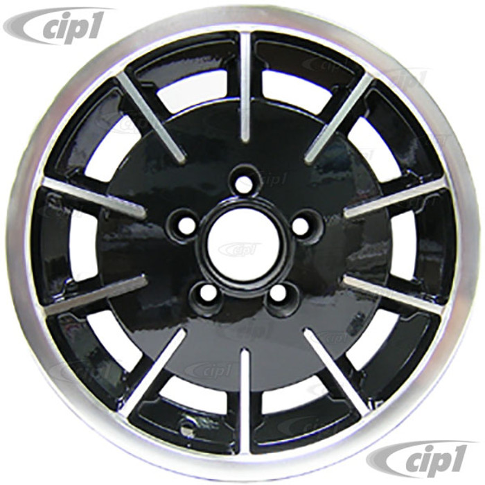 C32-GB1B - GAS-BURNER STYLE ALUMINUM WHEEL - BLACK WITH POLISHED RIBS - 5.5 INCH WIDE X 15 INCH DIA. - 5X112MM BUS 71-79 BOLT PATTERN (3.5 INCH BACKSPACE) - CENTER CAP AND  BALL-SEAT HARDWARE SOLD SEPARATELY - SOLD EACH - (A20)