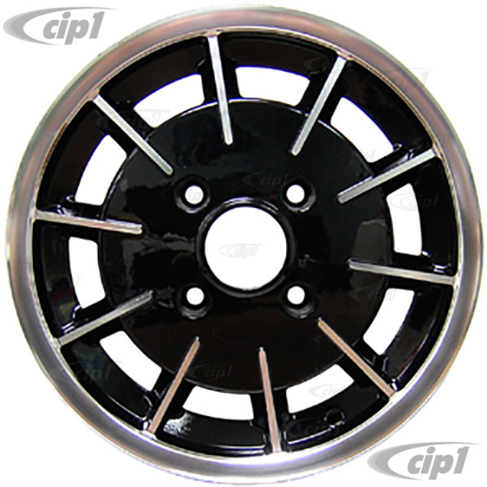 C32-GBB - GAS-BURNER STYLE ALUMINUM WHEEL - BLACK WITH POLISHED RIBS - 5.5 INCH WIDE X 15 INCH DIA. - 4X130MM VW BOLT PATTERN (4 INCH BACKSPACE) - CENTER CAP AND  BALL-SEAT HARDWARE SOLD SEPARATELY - SOLD EACH - (A20)