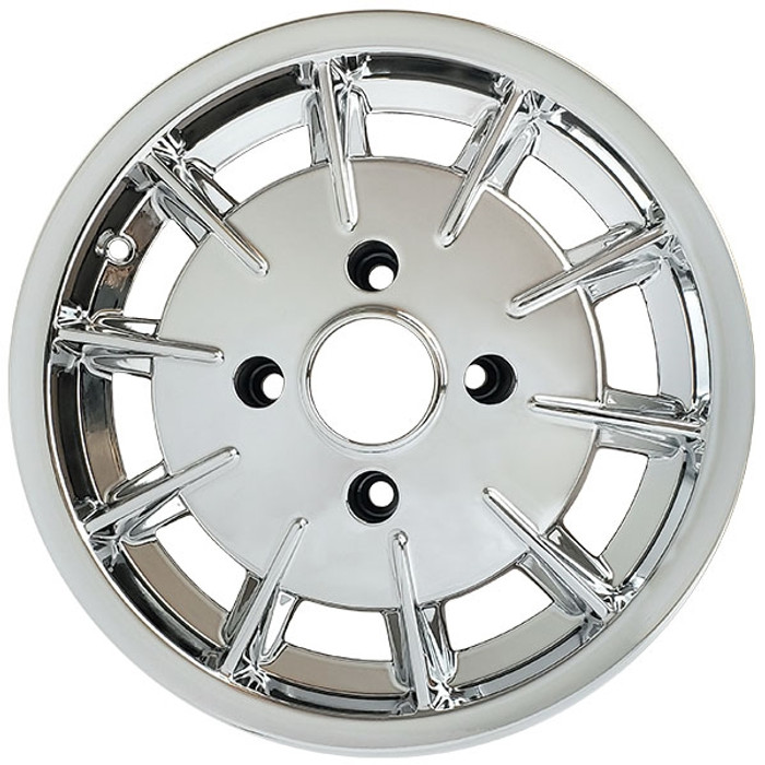 C32-GBC - GAS-BURNER STYLE ALUMINUM WHEEL - FULLY CHROME PLATED - 5.5 INCH WIDE X 15 INCH DIA. - 4X130MM VW BOLT PATTERN (4 INCH BACKSPACE) - CENTER CAP AND  BALL-SEAT HARDWARE SOLD SEPARATELY - SOLD EACH - (A20)