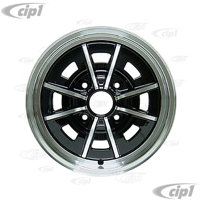 C32-SPR41-B - 4 BOLT X 130MM SPRINT STAR ALUMINUM WHEEL - BLACK WITH POLISHED SPOKES - 5 INCH WIDE X 15 INCH DIA. (4.3 INCH BACKSPACE) - CENTER CAP AND 60% ACORN HARDWARE SOLD SEPARATELY - BEETLE/GHIA 68-79 / TYPE-3 66-73 - SOLD EACH - (A20)