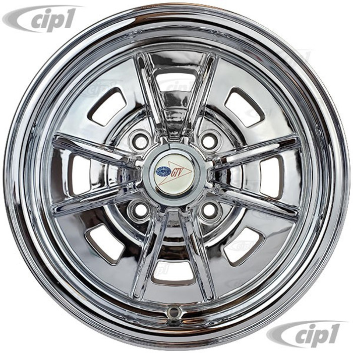 C32-SPR41-CH - 4 BOLT X 130MM SPRINT STAR ALUMINUM WHEEL - FULLY CHROME PLATED - 5 INCH WIDE X 15 INCH DIA. (3.5 INCH BACKSPACE) - CENTER CAP AND 60% ACORN HARDWARE SOLD SEPARATELY - BEETLE/GHIA 68-79 / TYPE-3 66-73 - SOLD EACH - (A20)