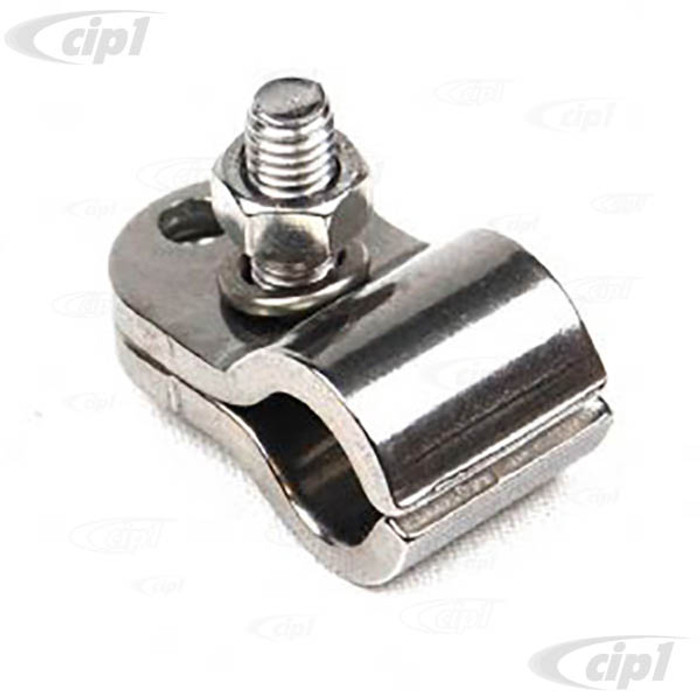 C33-S00328 - (211857545SS - 211-857-545SS) - GERMAN QUALITY FROM C&C U.K. - POLISHED (LIKE CHROME) STAINLESS STEEL MIRROR CLAMP - BUS 55-67 - SOLD EACH