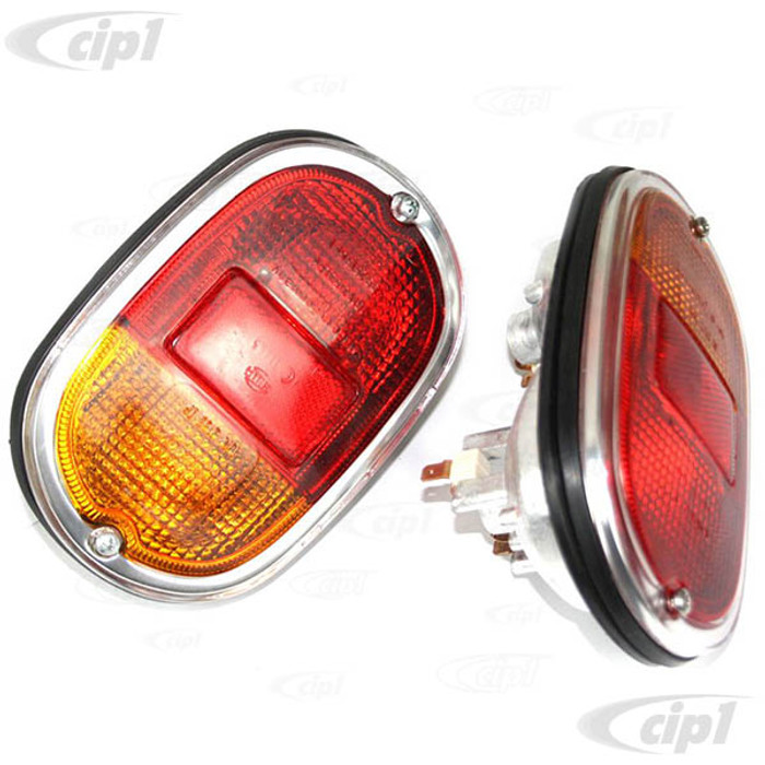 C33-S00620 - (211945241 - 211-945-241) - GERMAN QUALITY FROM C&C U.K. - COMPLETE TAILLIGHT ASSEMBLIES WITH CAST ALUMINUM HOUSINGS WITH EUROPEAN RED/AMBER/CHROME LENS - BUS 62-71 SOLD PAIR