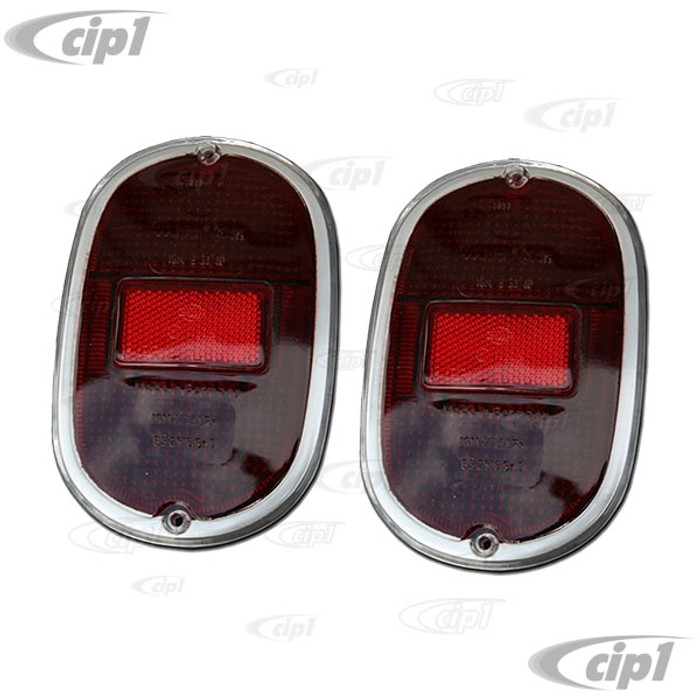 C33-S00621 - (211945241 - 211-945-241) - GERMAN QUALITY FROM C&C U.K. - COMPLETE TAILLIGHT ASSEMBLIES WITH CAST ALUMINUM HOUSINGS WITH USA STYLE ALL RED/CHROME HELLA LENS - BUS 62-71 SOLD PAIR